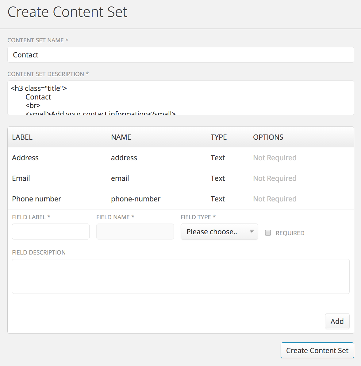 Create a site options content set