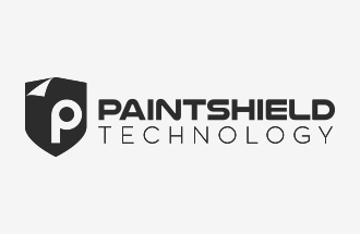 paintshield technology logotype with icon black