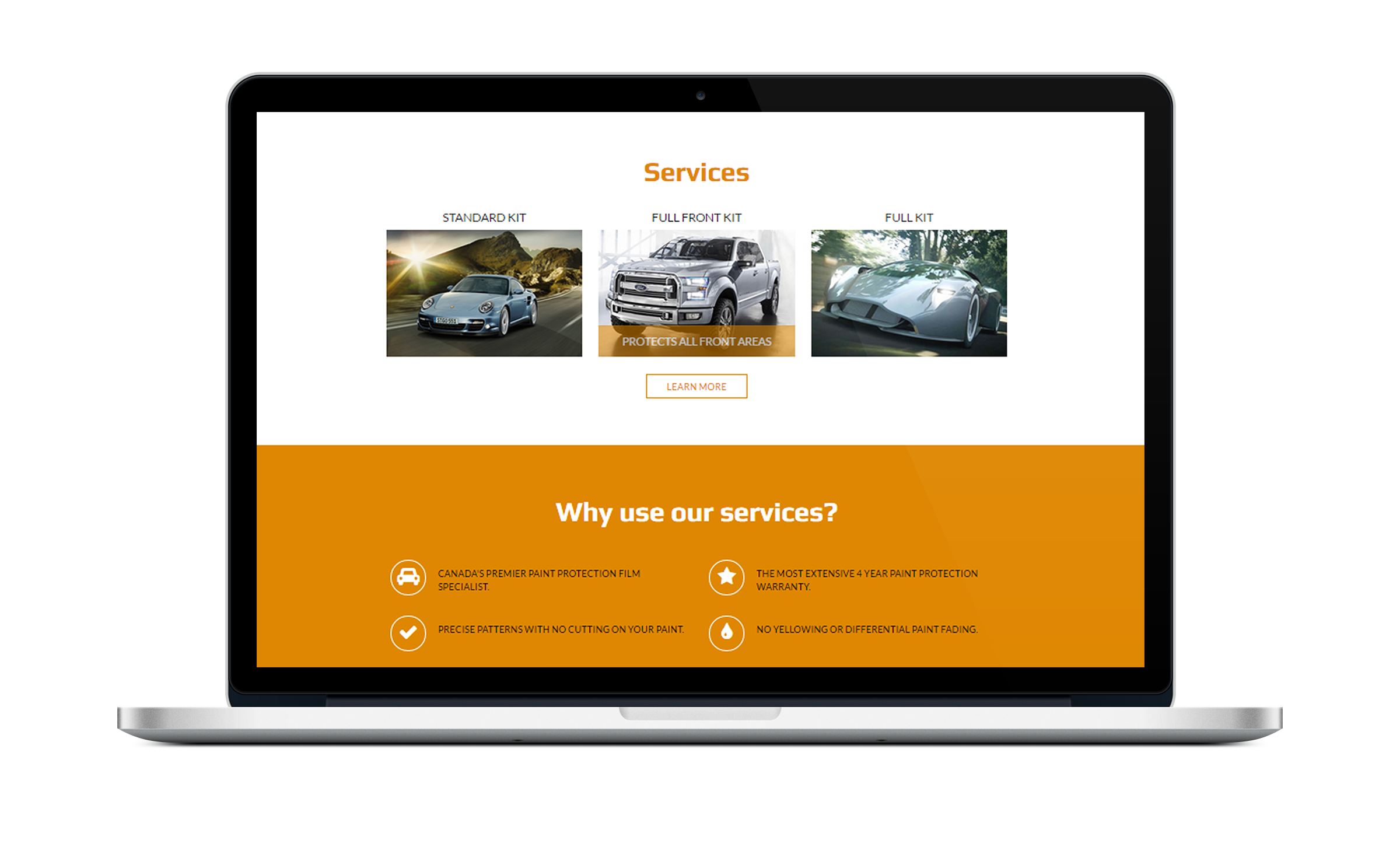 Services page let your customers know what your business does in a format that is simple and pleasing to the eye.