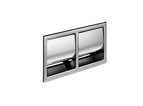 Hotellerie Recessed covered double toilet roll holder