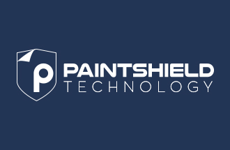 paintshield technology logotype with icon white