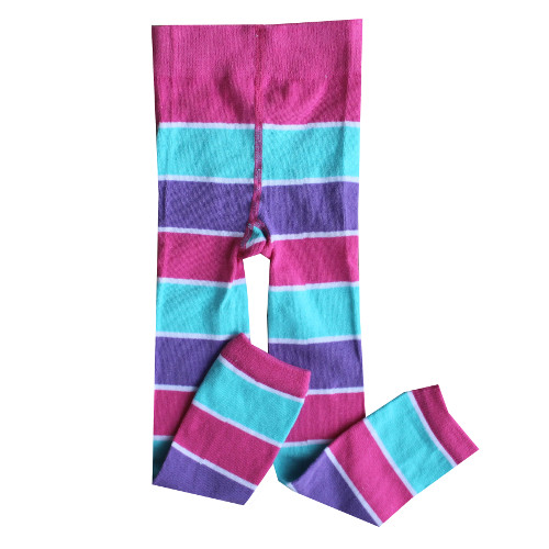 Footless Leggings, Aqua Purple Stripe