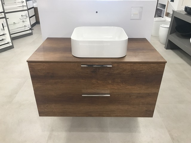 Progetto base unit 90cm with Timber laminate top, EXCLUDES washbasin