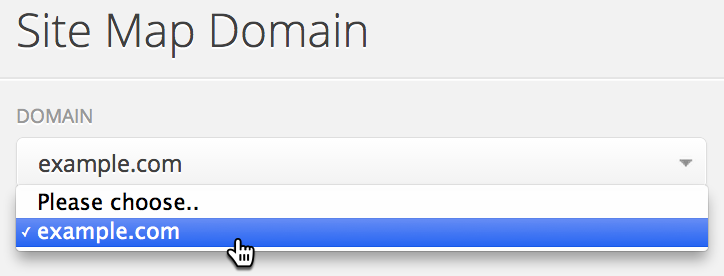 Select the domain to use for your sitemap