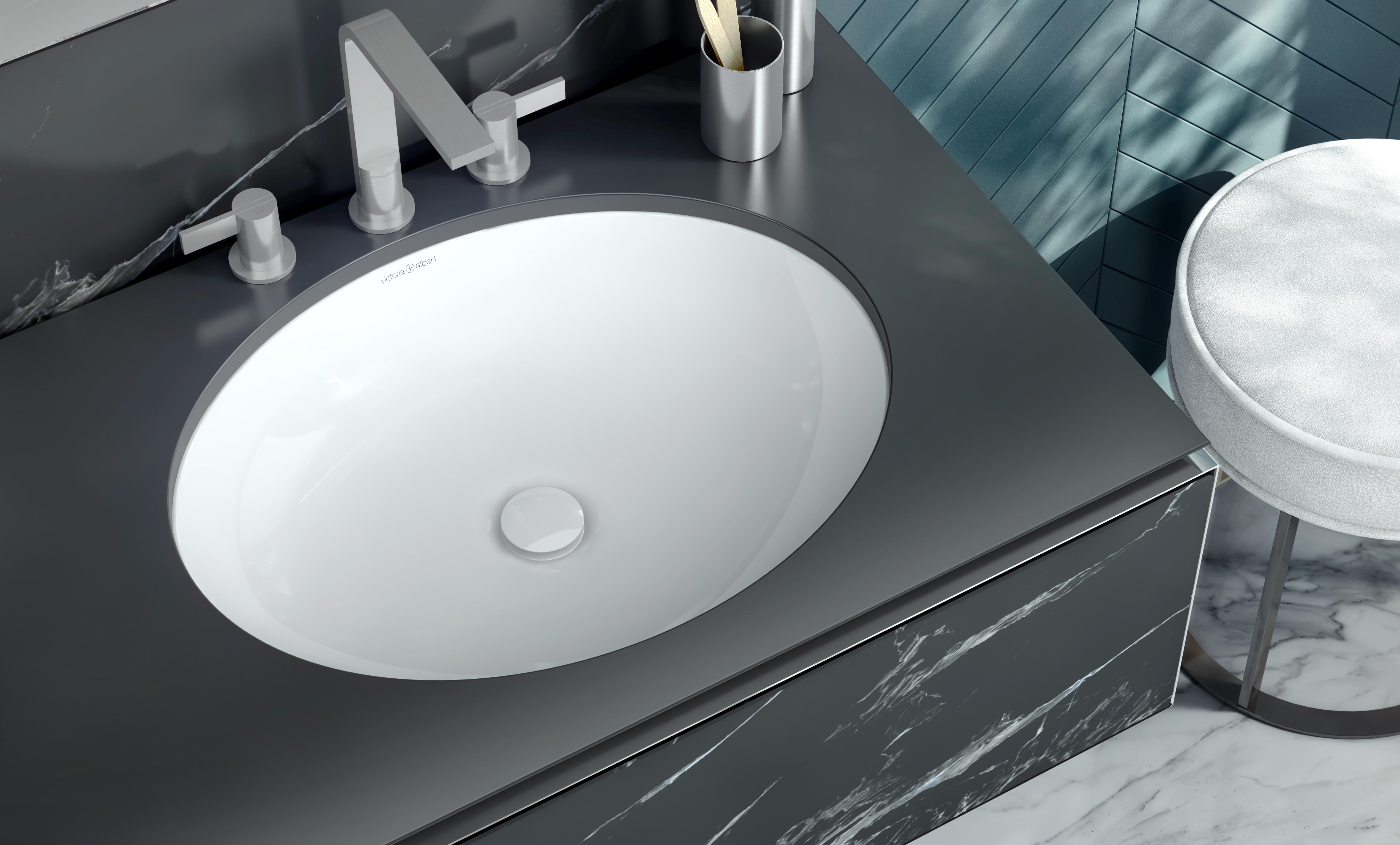 Kaali 46 Oval under counter basin