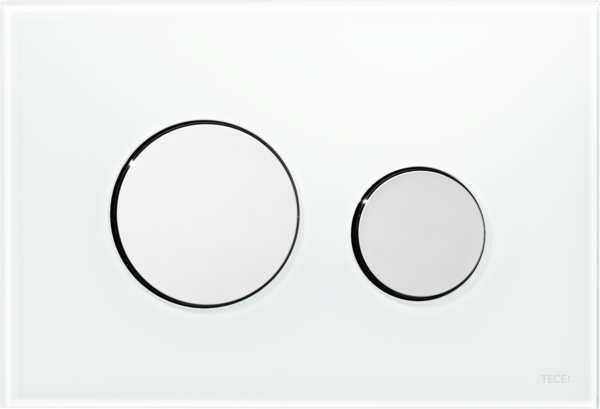 TECEloop Glass Flush button - White Glass Chrome buttons