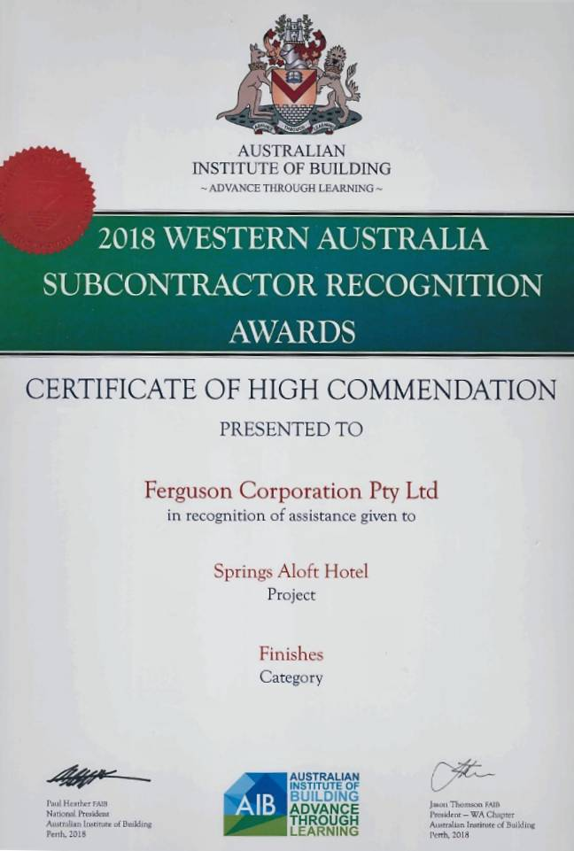 2018 Western Australia Subcontractor Recognition Award – Springs Aloft Hotel