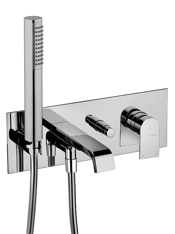 Tolomeo Wall mounted bath filler with hand piece
