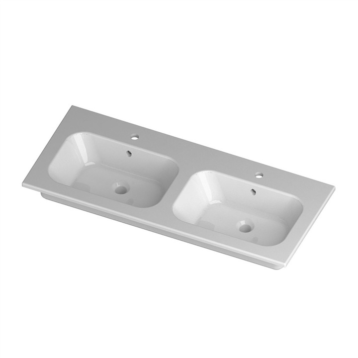 Qubo 51 Furniture top console Double bowl 2TH 121 x 51cm
