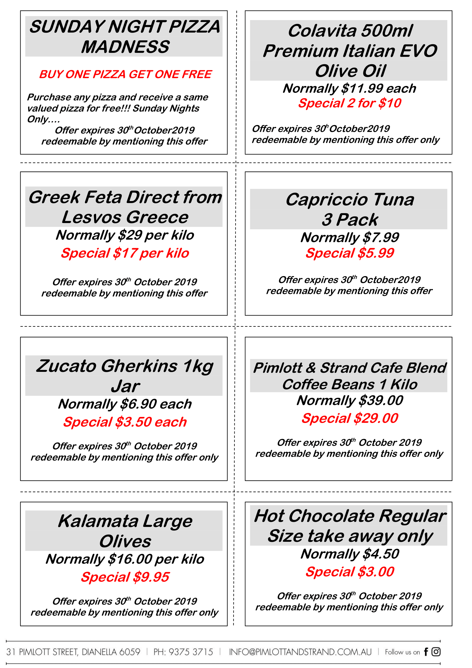 Pimlott & Strand Restaurant in Dianella October Specials