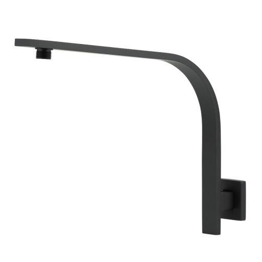 Flat Bar High Rise Shower Arm - Matte Black