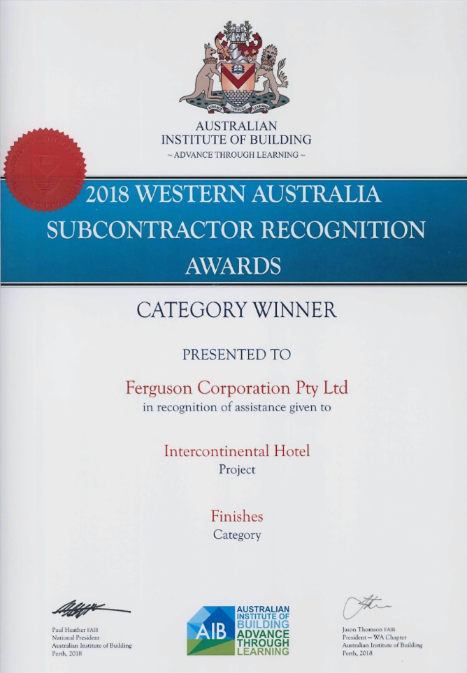 2018 Western Australia Subcontractor Recognition Award – Intercontinental Hotel