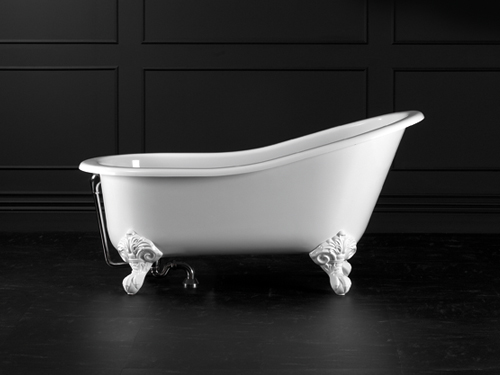 Shropshire Claw foot bath 1537 x 762mm, without overflow, with White Quarrycast feet