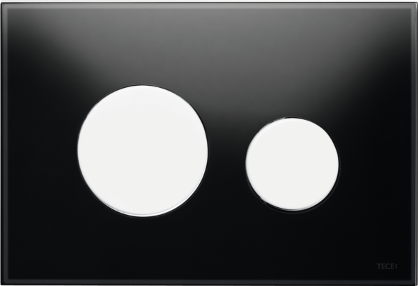 TECEloop Glass Flush button - Black Glass White buttons