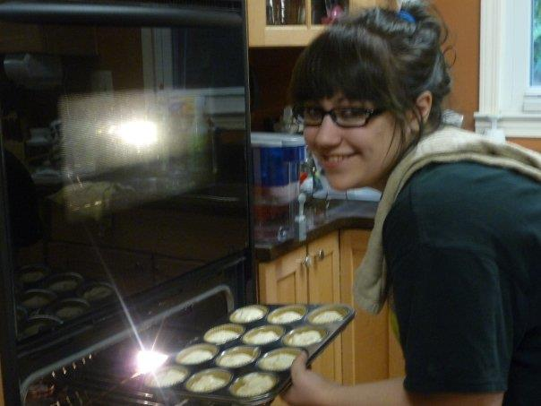 My daughter Kelly baking up some vanilla cupcakes from my gluten-free cookbook.