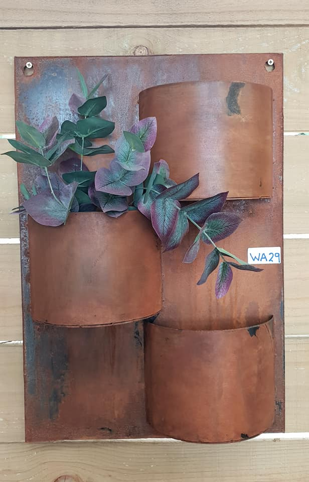 Corten 3 Pot Wall Planter