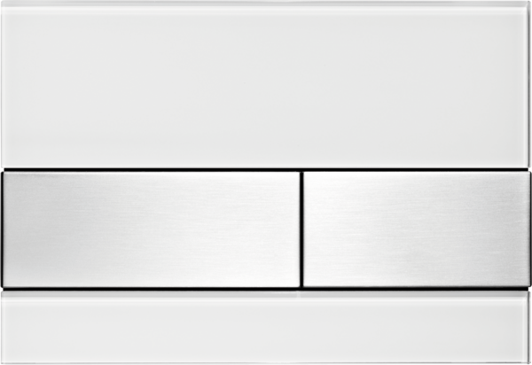 TECEsquare Glass Flush button - White Glass Stainless Steel buttons